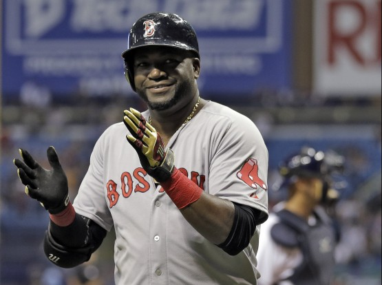 Boston Red Sox's David Ortiz applauds after hitting his 500th career home run off Tampa Bay Rays starting pitcher Matt Moore during the fifth inning of a baseball game Saturday, Sept. 12, 2015, in St. Petersburg, Fla. (AP Photo/Chris O'Meara)