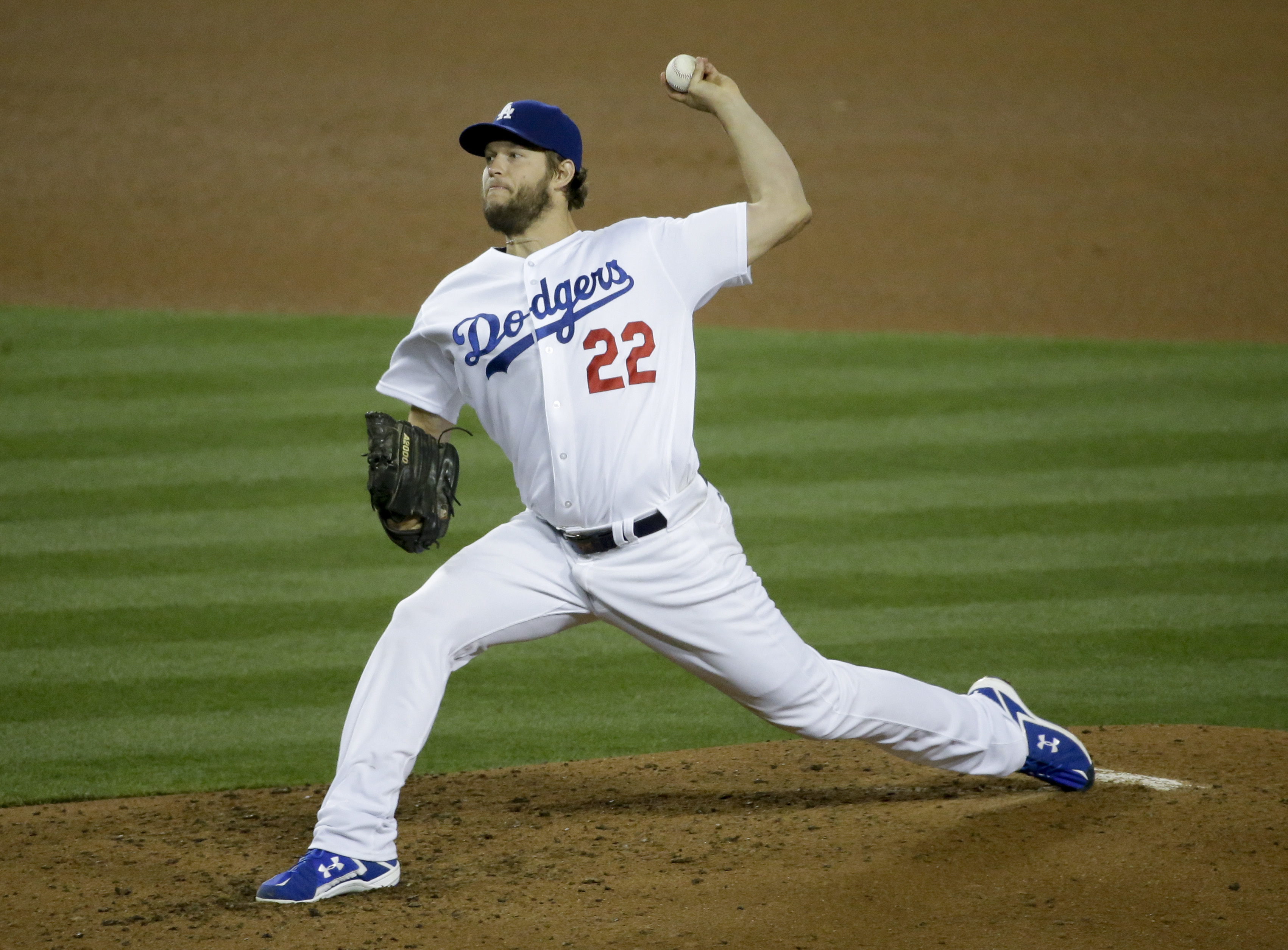 4318e763f32 Los Angeles Dodgers starting pitcher Clayton Kershaw throws during the  sixth inning of a baseball game