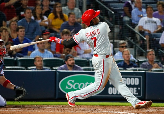 ATLANTA, GA - MAY 10: Maikel Franco #7 of the Philadelphia Phillies hits a solo homer in the eighth inning against the Atlanta Braves at Turner Field on May 10, 2016 in Atlanta, Georgia. (Photo by Kevin C. Cox/Getty Images)